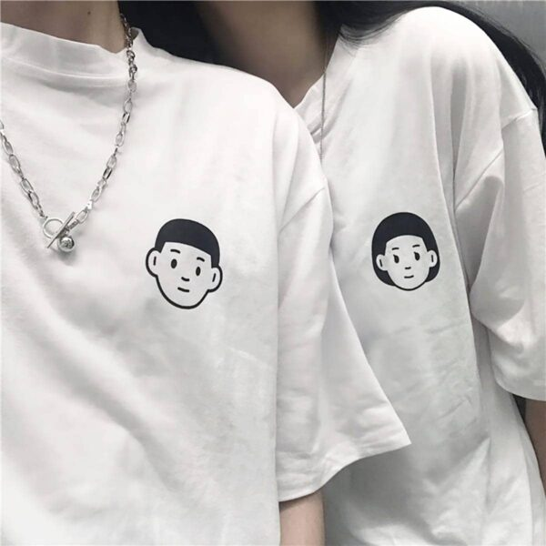 Boy and Girl Heads Hello Artsy White T-Shirt 1- Orezoria Aesthetic Outfits Shop - eGirl Outfits - Soft Girl Outfits