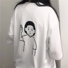 Boy and Girl Heads Hello Artsy White T-Shirt 2- Orezoria Aesthetic Outfits Shop - eGirl Outfits - Soft Girl Outfits