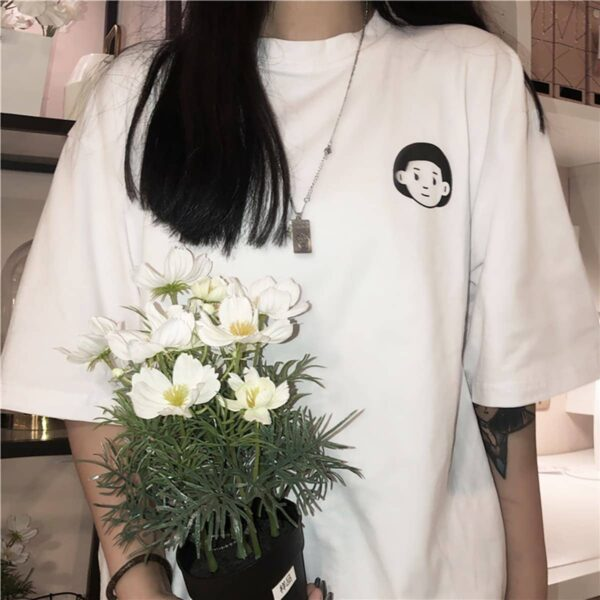Boy and Girl Heads Hello Artsy White T-Shirt 4- Orezoria Aesthetic Outfits Shop - eGirl Outfits - Soft Girl Outfits