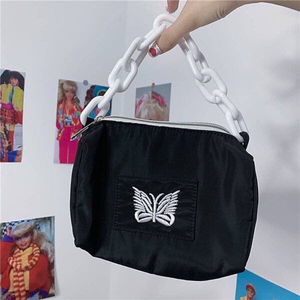 Butterfly Embroidery White Chain Soft Girl Bag 4- Orezoria Aesthetic Outfits Shop - eGirl Outfits - Soft Girl Outfits