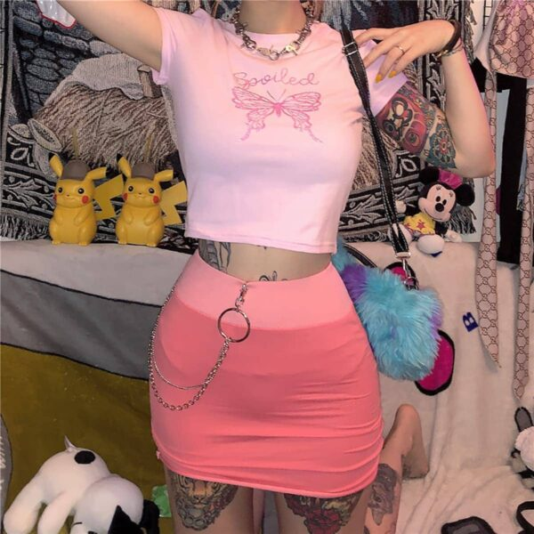 Butterfly Spoiled Pink EGirl Crop Top 2- Orezoria Aesthetic Outfits Shop - eGirl Outfits - Soft Girl Outfits
