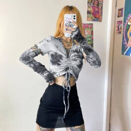 Cloudy Gray Tie Dye Split Sleeve eGirl Crop Top 1- Orezoria Aesthetic Outfits Shop - eGirl Outfits - Soft Girl Outfits