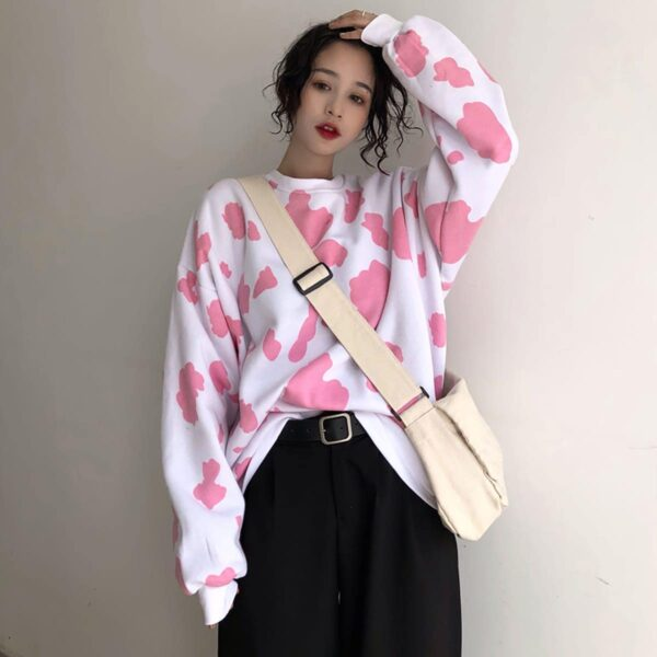 Cow Pattern Long Sleeve Sweatshirt 2- Orezoria Aesthetic Outfits Shop - Aesthetic Clothing - eGirl Outfits - Soft Girl Outfits