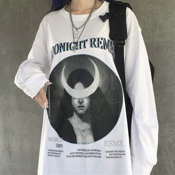 Crescent Moon Witch Long Sleeve Moonlight Knows 3- Orezoria Aesthetic Outfits Shop - eGirl Outfits - Soft Girl Outfits