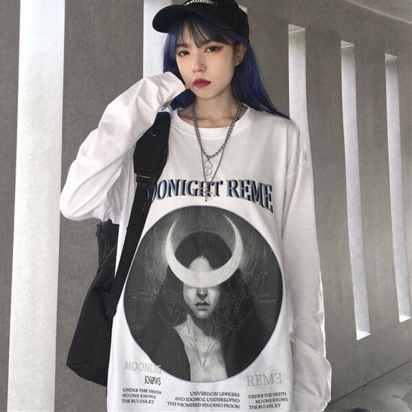 Crescent Moon Witch Long Sleeve Moonlight Knows 4- Orezoria Aesthetic Outfits Shop - eGirl Outfits - Soft Girl Outfits