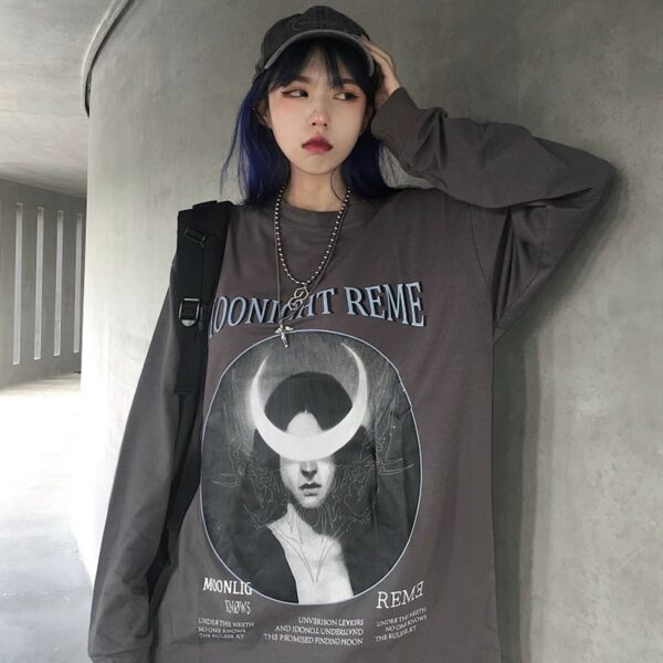 Crescent Moon Witch Long Sleeve Moonlight Knows 7- Orezoria Aesthetic Outfits Shop - eGirl Outfits - Soft Girl Outfits
