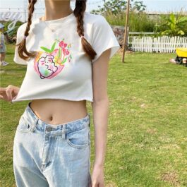 Cute Bunny Nature Love White Kawaii Crop Top 2- Orezoria Aesthetic Outfits Shop - eGirl Outfits - Soft Girl Outfits