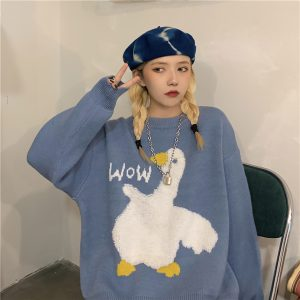 Cute Goose Wow Fluff Kawaii Sweater 1- Orezoria Aesthetic Outfits Shop - eGirl Outfits - Soft Girl Outfits