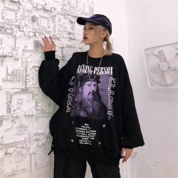 Da Vinci Portrait Black Cassy Sweatshirt 3 - Orezoria Aesthetic Outfits Shop - Aesthetic Clothing - eGirl Outfits - Soft Girl Outfits.psd