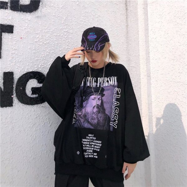 Da Vinci Portrait Black Cassy Sweatshirt 4 - Orezoria Aesthetic Outfits Shop - Aesthetic Clothing - eGirl Outfits - Soft Girl Outfits.psd