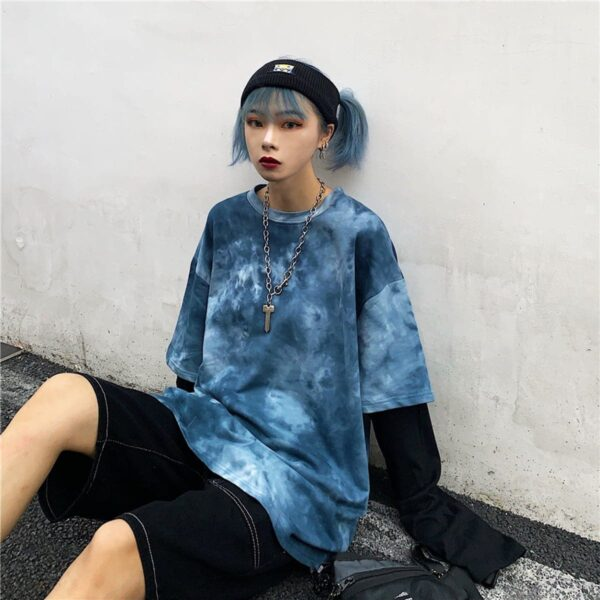 Dark Blue Smokey Fake Sleeves Top 1 - Orezoria Aesthetic Outfits Shop - Aesthetic Clothing - eGirl Outfits - Soft Girl Outfits.psd