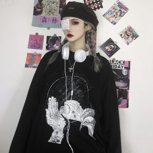 Dark Print Dead Hands With Pills Long Sleeve Top 2 - Orezoria Aesthetic Outfits Shop - eGirl Outfits - Soft Girl Outfit