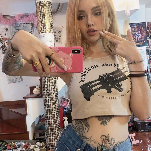 Death From Above Rifles Beige Crop Top 2- Orezoria Aesthetic Outfits Shop - eGirl Outfits - Soft Girl Outfits