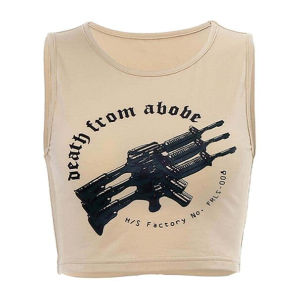 Death From Above Rifles Beige Crop Top 4- Orezoria Aesthetic Outfits Shop - eGirl Outfits - Soft Girl Outfits
