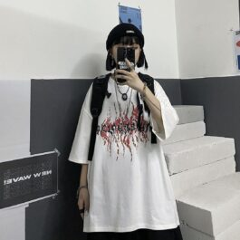 Devil Runes Loose Korean T-Shirt 2- Orezoria Aesthetic Outfits Shop - Aesthetic Clothing - eGirl Outfits - Soft Girl Outfits