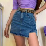 Distressed Denim High Waisted Skirt 1- Orezoria Aesthetic Outfits Shop - Aesthetic Clothing - eGirl Outfits - Soft Girl Outfits