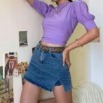 Distressed Denim High Waisted Skirt 2- Orezoria Aesthetic Outfits Shop - Aesthetic Clothing - eGirl Outfits - Soft Girl Outfits