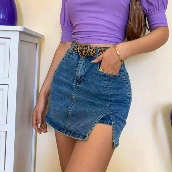 Distressed Denim High Waisted Skirt 3- Orezoria Aesthetic Outfits Shop - Aesthetic Clothing - eGirl Outfits - Soft Girl Outfits