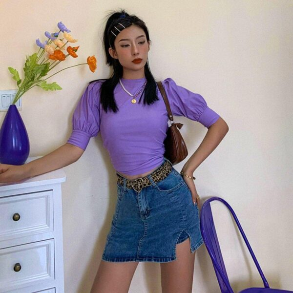 Distressed Denim High Waisted Skirt 4- Orezoria Aesthetic Outfits Shop - Aesthetic Clothing - eGirl Outfits - Soft Girl Outfits