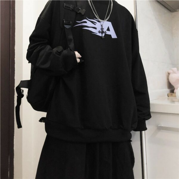 Flaming Letter A Black Sweatshirt 1 - Orezoria Aesthetic Outfits Shop - Aesthetic Clothing - eGirl Outfits - Soft Girl Outfits.psd