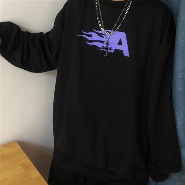 Flaming Letter A Black Sweatshirt 4 - Orezoria Aesthetic Outfits Shop - Aesthetic Clothing - eGirl Outfits - Soft Girl Outfits.psd