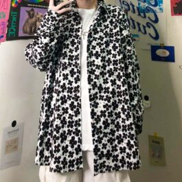 Flower Pattern Oversized Korean Shirt 1- Orezoria Aesthetic Outfits Shop - Aesthetic Clothing - eGirl Outfits - Soft Girl Outfits