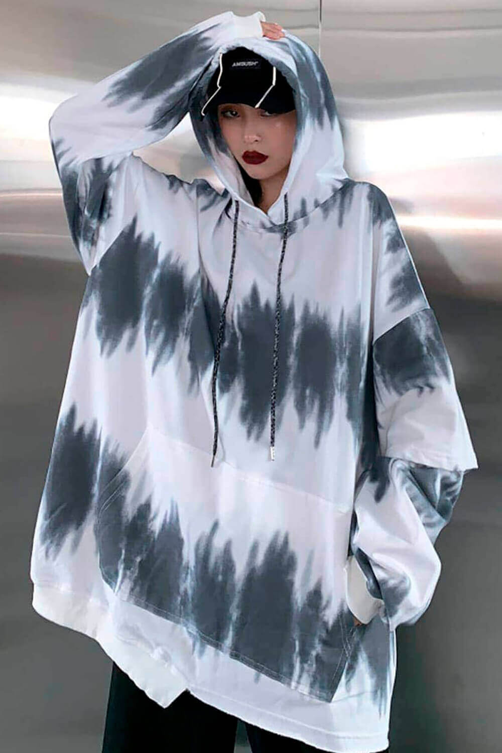 Ghost Notes White Loose Hoodie