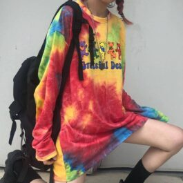 Grateful Dead Dancing Bears Tie Dye Long Sleeve 2 - Orezoria Aesthetic Outfits Shop - eGirl Outfits - Soft Girl Outfit