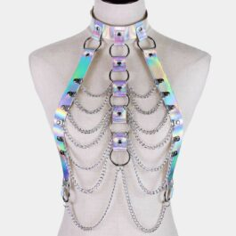 Holographic Harness Top Chains EGirl Bondage 1- Orezoria Aesthetic Outfits Shop - eGirl Outfits - Soft Girl Outfits