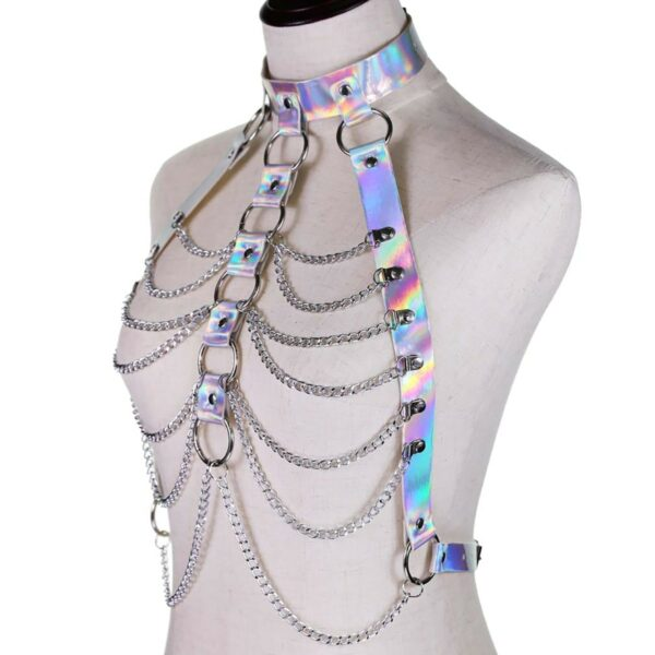 Holographic Harness Top Chains EGirl Bondage 2- Orezoria Aesthetic Outfits Shop - eGirl Outfits - Soft Girl Outfits