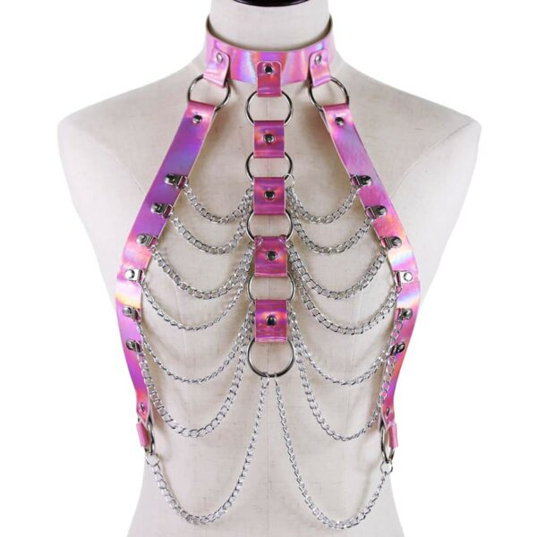 Holographic Harness Top Chains EGirl Bondage 4- Orezoria Aesthetic Outfits Shop - eGirl Outfits - Soft Girl Outfits