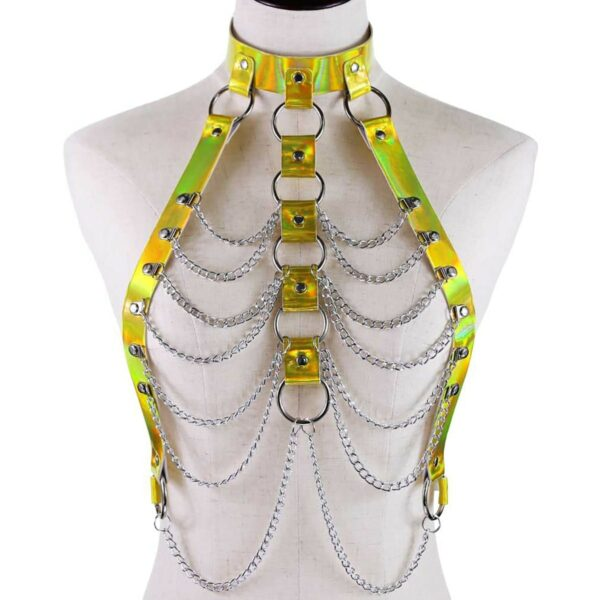 Holographic Harness Top Chains EGirl Bondage 5- Orezoria Aesthetic Outfits Shop - eGirl Outfits - Soft Girl Outfits