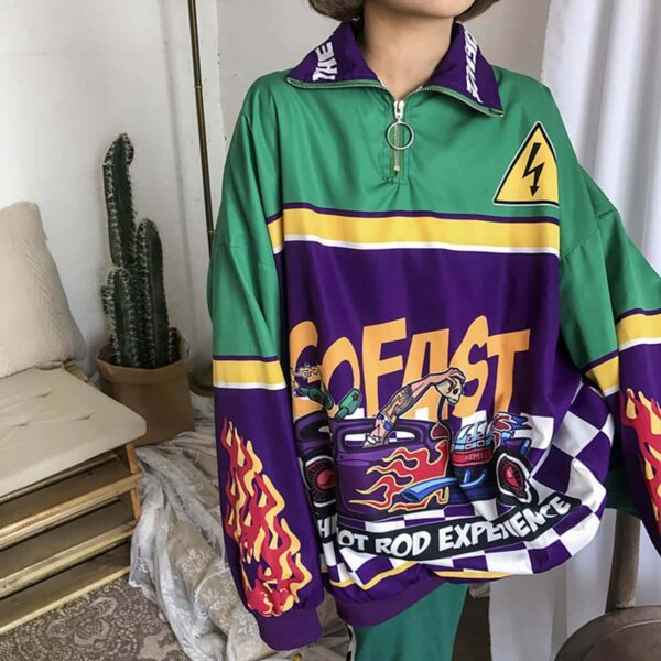 Hot Rod Experience Oversized Long Sleeve 1- Orezoria Aesthetic Outfits Shop - Aesthetic Clothing - eGirl Outfits - Soft Girl Outfits
