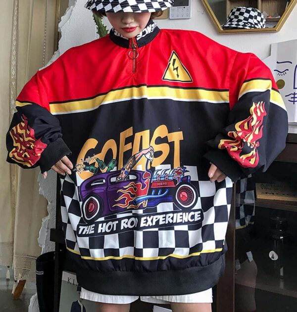 Hot Rod Experience Oversized Long Sleeve 2- Orezoria Aesthetic Outfits Shop - Aesthetic Clothing - eGirl Outfits - Soft Girl Outfits