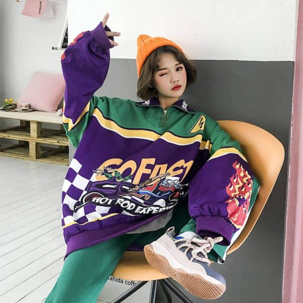 Hot Rod Experience Oversized Long Sleeve 3- Orezoria Aesthetic Outfits Shop - Aesthetic Clothing - eGirl Outfits - Soft Girl Outfits