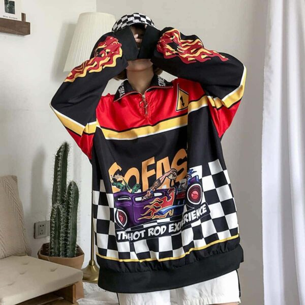 Hot Rod Experience Oversized Long Sleeve 4- Orezoria Aesthetic Outfits Shop - Aesthetic Clothing - eGirl Outfits - Soft Girl Outfits