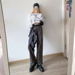Korean Aesthetic Cargo Pants 1- Orezoria Aesthetic Outfits Shop - Aesthetic Clothing - eGirl Outfits - Soft Girl Outfits