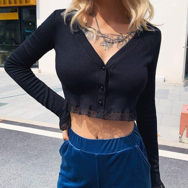 Lace Ribbon Cropped Cardigan 3- Orezoria Aesthetic Outfits Shop - Aesthetic Clothing - eGirl Outfits - Soft Girl Outfits