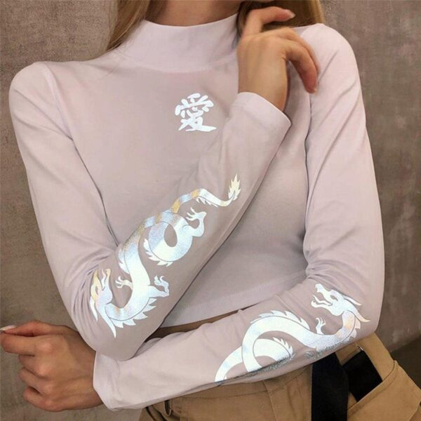 Light Reflective Asian Lung Dragon Top 3- Orezoria Aesthetic Outfits Shop - eGirl Outfits - Soft Girl Outfits