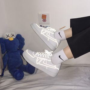 Light Reflective Lined Sneakers Retro Aesthetic 1- Orezoria Aesthetic Outfits Shop - eGirl Outfits - Soft Girl Outfits