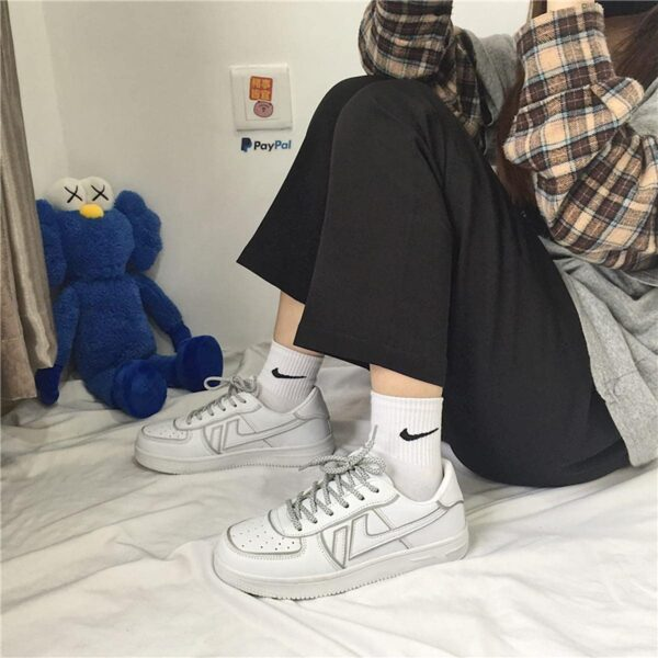 Light Reflective Lined Sneakers Retro Aesthetic 2- Orezoria Aesthetic Outfits Shop - eGirl Outfits - Soft Girl Outfits