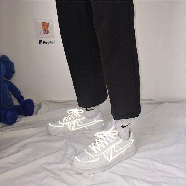 Light Reflective Lined Sneakers Retro Aesthetic 3- Orezoria Aesthetic Outfits Shop - eGirl Outfits - Soft Girl Outfits