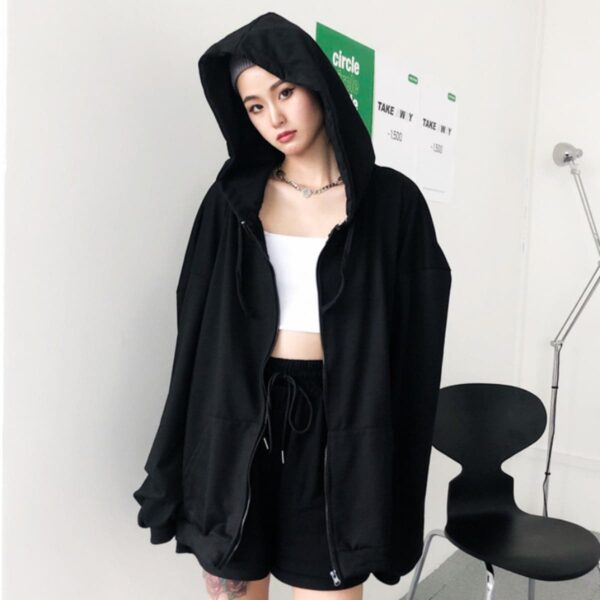 Loose Blank Korean Style Hoodie 4- Orezoria Aesthetic Outfits Shop - Aesthetic Clothing - eGirl Outfits - Soft Girl Outfits