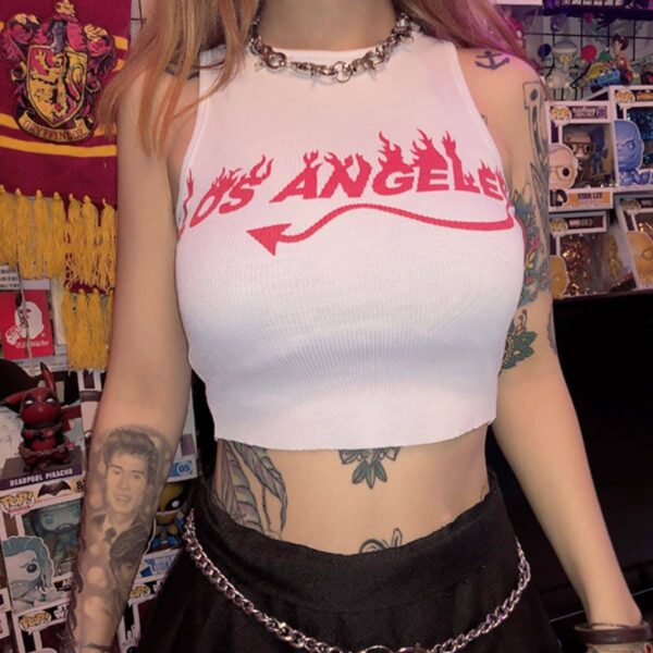 Los Angeles Devil Tail White Aesthetic Crop Top 4- Orezoria Aesthetic Outfits Shop - eGirl Outfits - Soft Girl Outfits