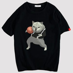MUR Cat Bizarre Basketball T-Shirt Meme Aesthetic 1 - Orezoria Aesthetic Outfits Shop - eGirl Outfits - Soft Girl Outfits