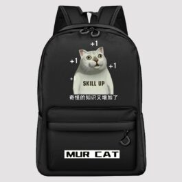 MUR Cat Meme Backpack Skill Up +1 Dank Aesthetic 1 - Orezoria Aesthetic Outfits Shop - eGirl Outfits - Soft Girl Outfits