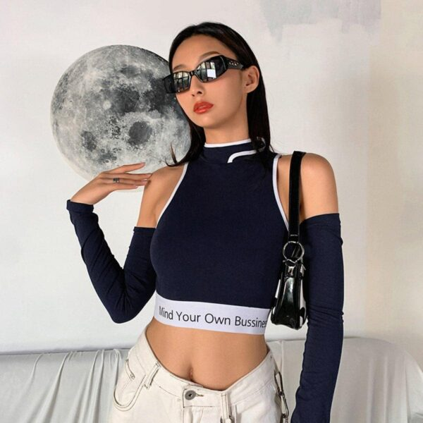 Mind Your Own Business Crop Top 4- Orezoria Aesthetic Outfits Shop - Aesthetic Clothing - eGirl Outfits - Soft Girl Outfits