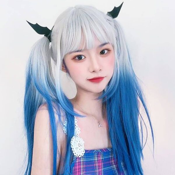 No Emotion White Blue Gradient EGirl Wig 1- Orezoria Aesthetic Outfits Shop - Aesthetic Clothing - eGirl Outfits - Soft Girl Outfits