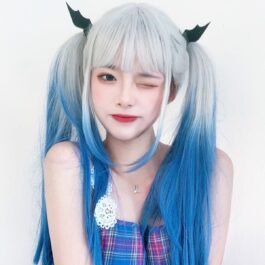 No Emotion White Blue Gradient EGirl Wig 2- Orezoria Aesthetic Outfits Shop - Aesthetic Clothing - eGirl Outfits - Soft Girl Outfits