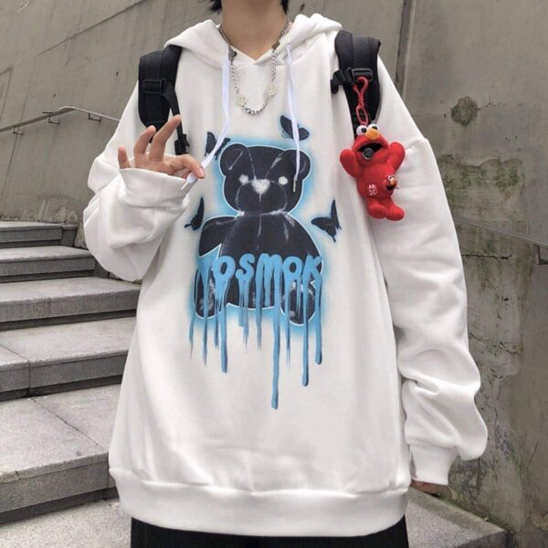 No Smoke Bear Oversized Hoodie 1- Orezoria Aesthetic Outfits Shop - Aesthetic Clothing - eGirl Outfits - Soft Girl Outfits